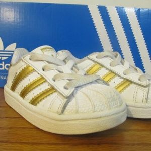 ADIDAS superstar white and gold sneakers kids shoe